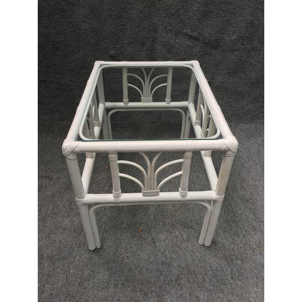 Vintage Rattan Glass Top End Table
