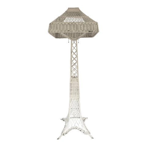 Early 20th C. Eiffel Tower White Wicker Floor Lamp