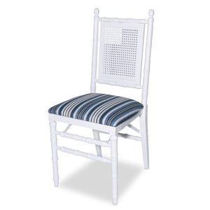 Faux Bamboo and Cane Folding Chair, White
