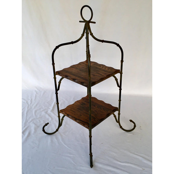 Iron and Wood Dessert Server