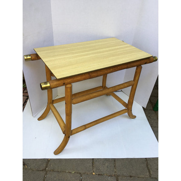 j.b. Van Sciver Co. Mid-Century Modern Rattan End Table