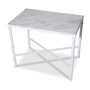 White Iron and Marble Top Table