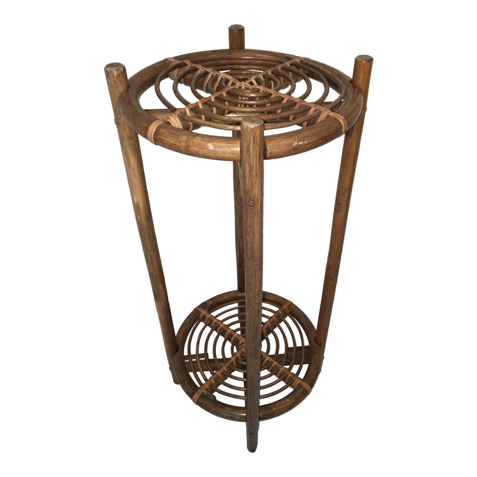 Mid-Century Modern Two-Tiered Rattan Plant Stand
