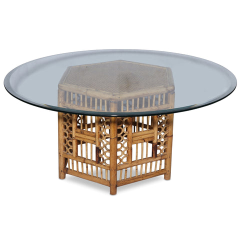 Rattan Hexagonal Cocktail Table with Glass Top