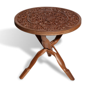Glazed Teak Sculpted Top Table