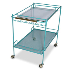 Turquoise Metal Tea Cart