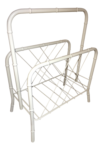Vintage Faux Bamboo White Metal Magazine Rack