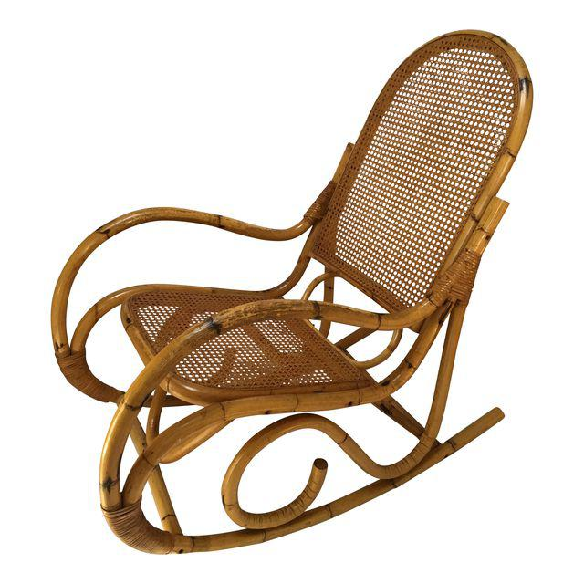 Vintage Franco Albini Style Rattan and Cane Rocking Chair