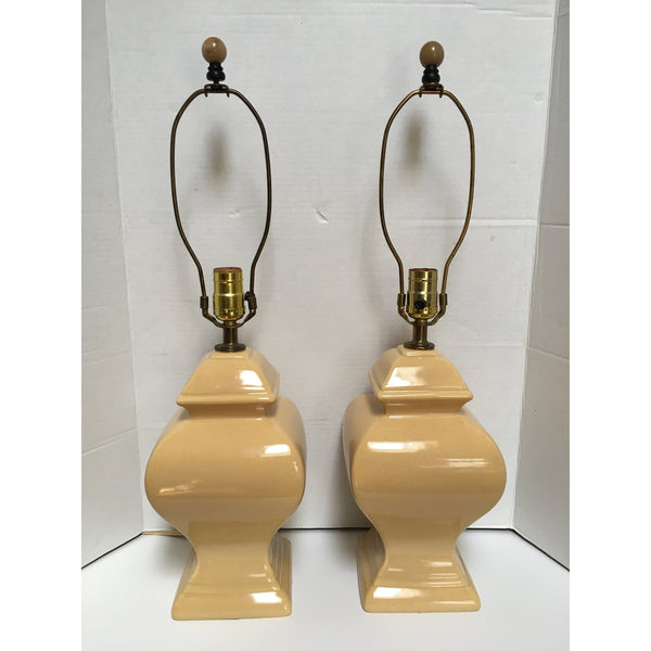 Vintage Golden Yellow Ginger Jar Lamps - A Pair