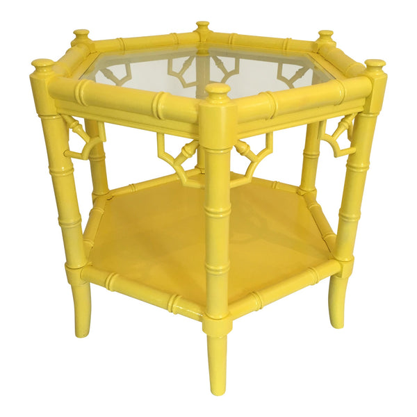 Vintage Hexagonal Yellow Faux Bamboo Table