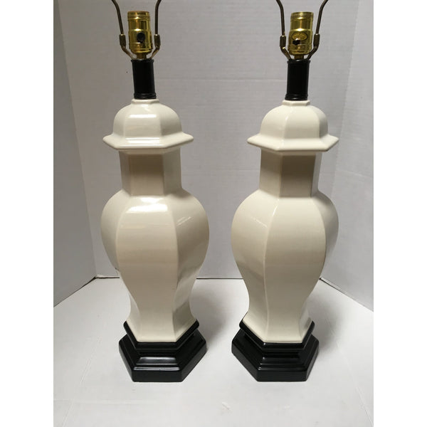 Vintage White Ceramic Hexagonal Lamps -a Pair