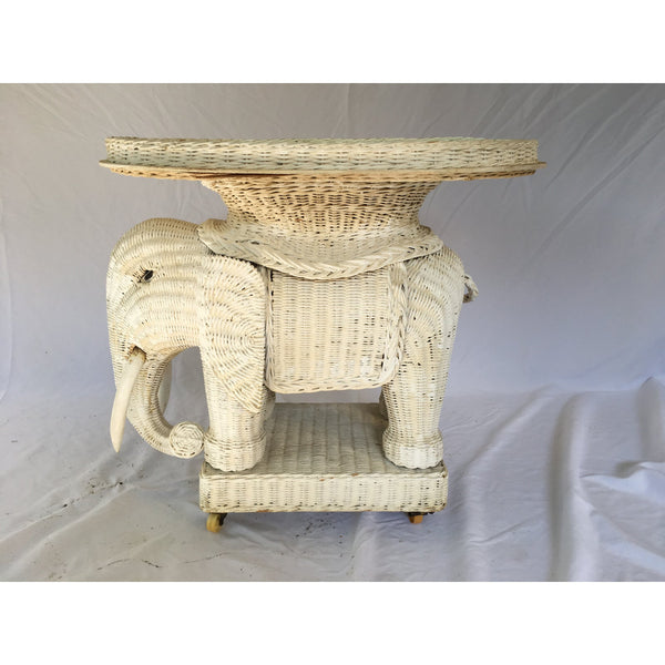 Vintage White Wicker Elephant Side Table With Mirrored Tray
