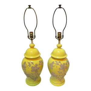Vintage Yellow Ceramic Ginger Jar Lamps - A Pair