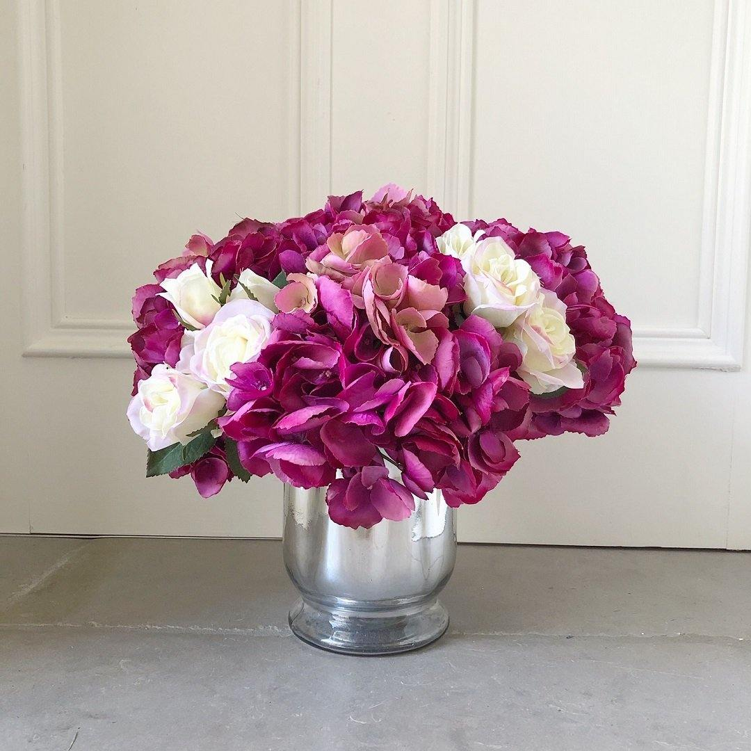 Hydrangea & Rose in Hurricane Vase - The Irish Country Home