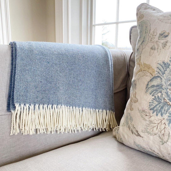 Supersoft Herringbone Lambswool Throw Blue