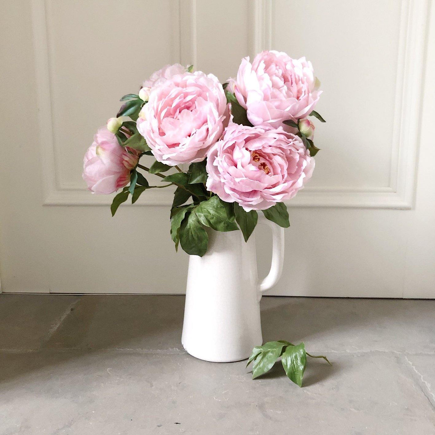 The Classic Pale Pink Peony in a Ceramic Jug Vase - The Irish Country Home