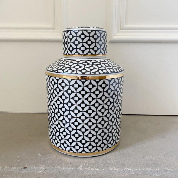 Black & White Decorative Jar 22cm
