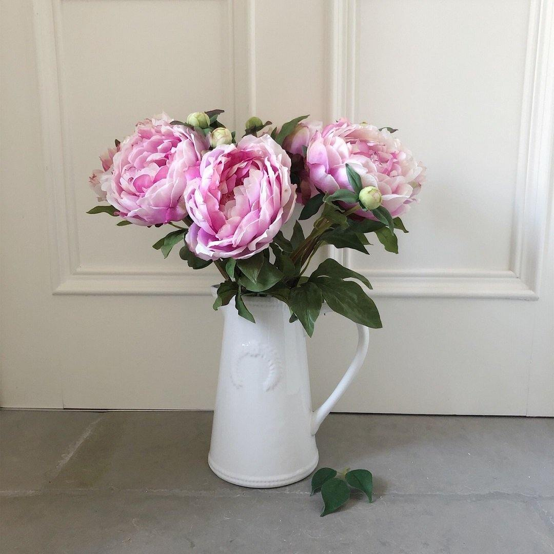 The Classic Pink Peony in a Ceramic Jug Vase - The Irish Country Home
