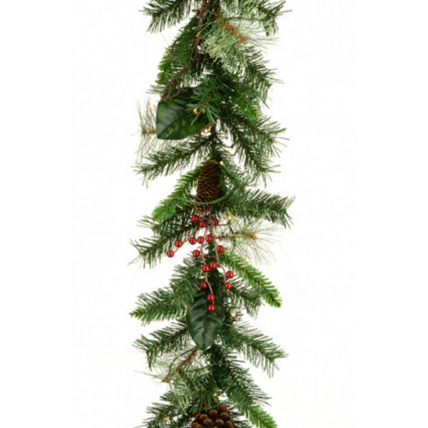 Mixed Pine Berry Christmas Garland 182cm with LED Lights