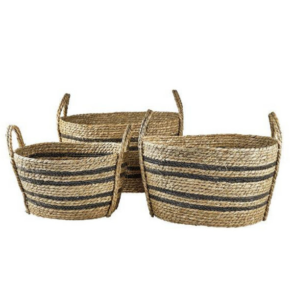 Hand-Braided Seagrass Baskets - Set of 3