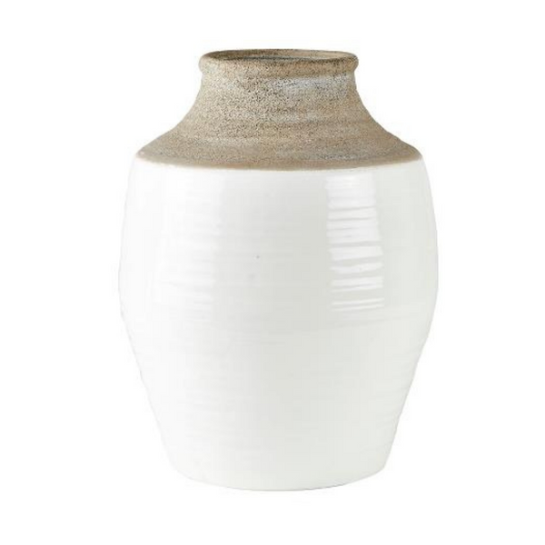 White/Natural Ceramic Floor Vase