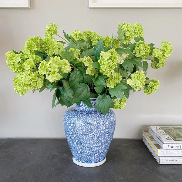 Green Viburnum in Blue & White Vase - The Irish Country Home