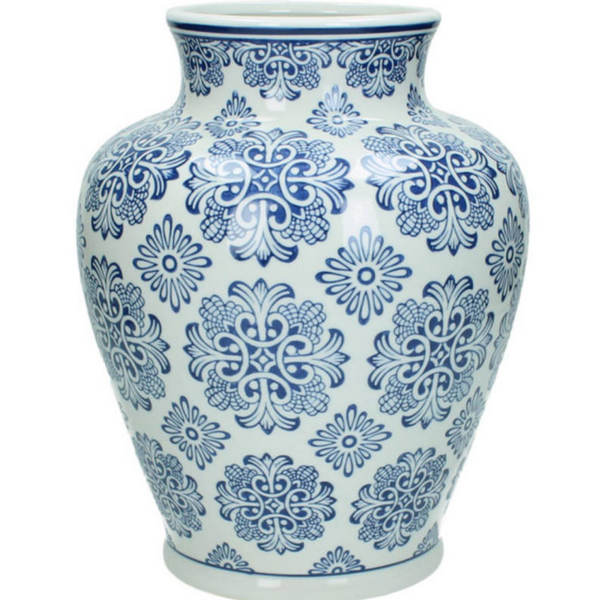 Blue & White Ceramic Vase 28cm
