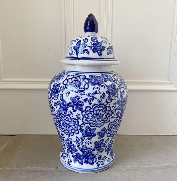 Blue & White Floral Temple Jar Vase 36.5cm