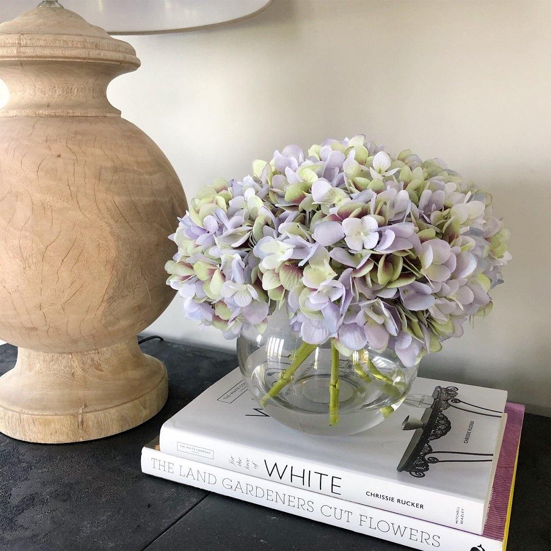 Lavender and Green artificial hydrangeas