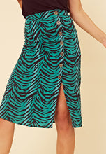 Load image into Gallery viewer, Green Zebra Print Midi Skirt