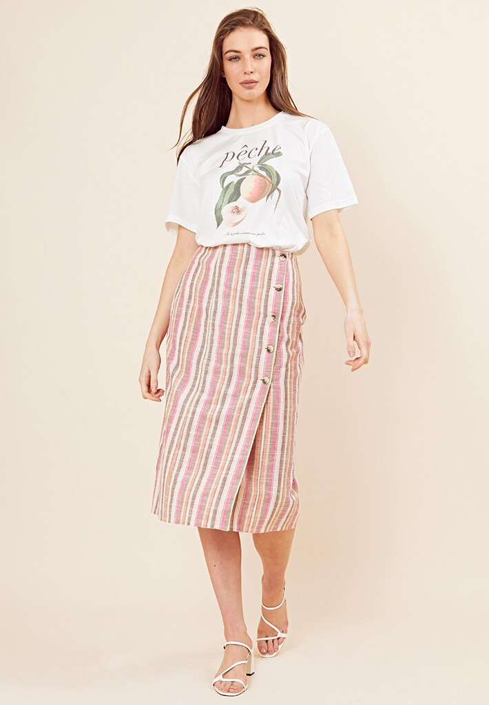 Linen Rainbow stripe button skirt