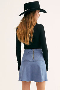 Free People Highlands Denim Skirt