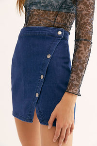 Free People Nothed Blue Denim Skirt