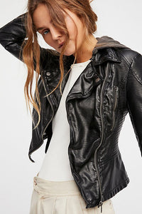 Vegan Leather Hooded Jacket