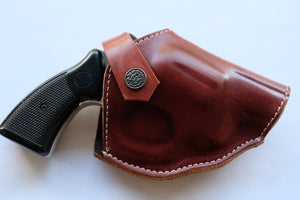 Cal38 | Leather Belt owb Holster Taurus Model 856 Snub Nose 38 Special Two Position Holster