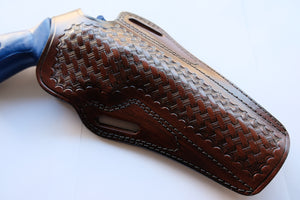 Handcrafted Leather Basket Weave Holster For Ruger GP100 357 Magnum 6 inch