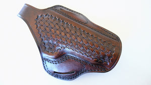 Cal38 Leather Springfield 1911 Operator 45ACP Leather owb Belt Basket Weave Holster