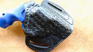 Cal38Leather Basket Weave Belt owb Holster For Smith and Wesson J Frame 38 Special