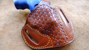 Cal38 Leather Basket Weave Belt owb Holster For Smith and Wesson J Frame 38 Special