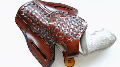 Cal38 Leather Basket Weave Holster For Taurus 85 with the 3