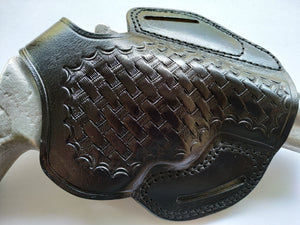 Handcrafted Leather Belt Basket Weave Holster for Smith and Wesson 686 Snub Nose (R.H)