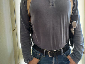 Vertical Leather Shoulder Holster with Ammo Pouches For Smith and wesson 357 magnum 3,or 4 inch
