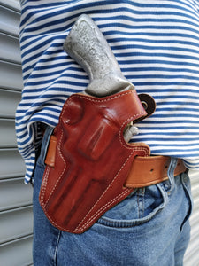 Leather Belt owb Holster For smith & wesson 686 plus 4 inch barrel