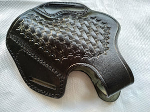 Cal38 | Leather Belt owb Basket Weave Holster Smith and Wesson 686