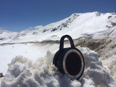 outdoor bluetooth speaker in snow, ALL-Terrain Sound, ATS, outdoor bluetooth speaker, waterproof bluetooth speaker, portable bluetooth speaker, waterproof portable speaker, waterproof speaker, portable speaker, waterproof outdoor speaker, waterproof, portable, bluetooth, rugged speaker