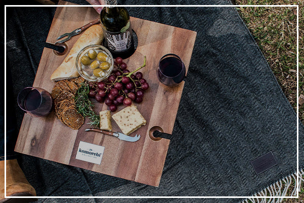 Komorebi Herringbone Picnic Blanket Folding Wine Picnic Table