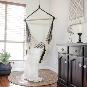 Komorebi-Boho-Macrame-Hanging-Hammock-Chair-Ivory-&-Black-Indoor