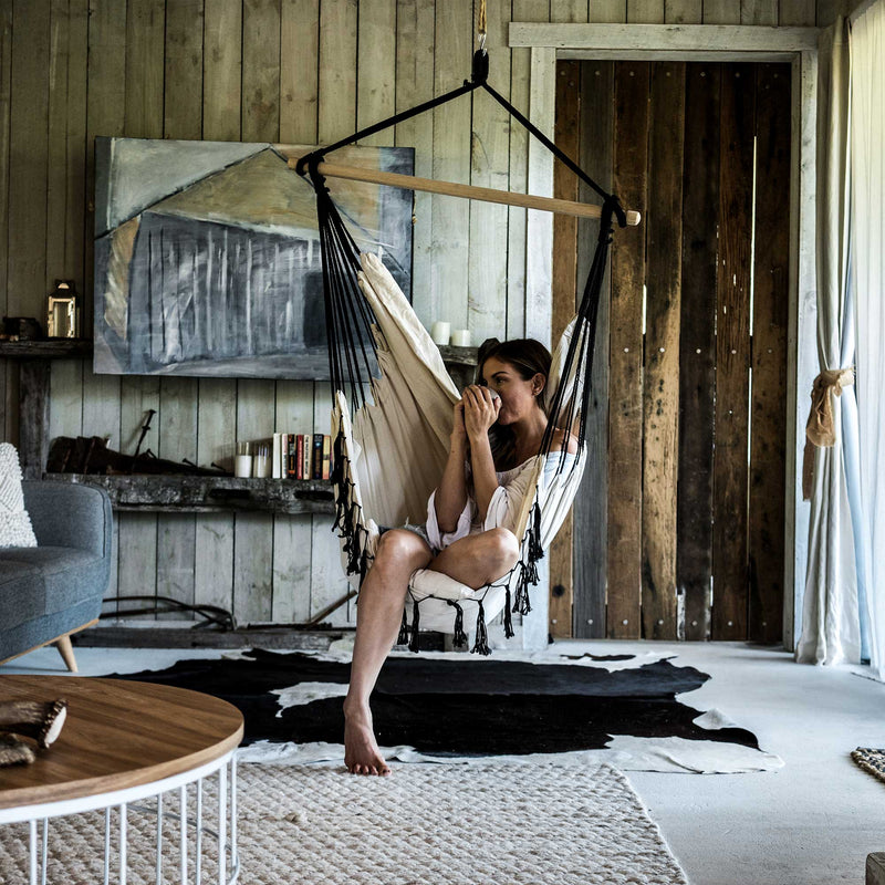 Komorebi-Boho-Macrame-Hanging-Hammock-Chair-Ivory-&-Black-Pocket