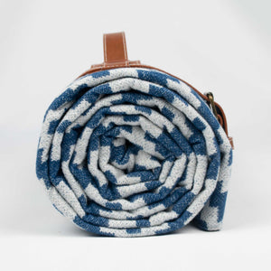 Komorebi-Diamond-Jacquard-Picnic-Blanket-Rolled-Up