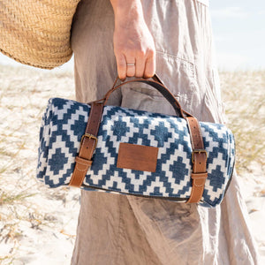 Komorebi-Diamond-Jacquard-Picnic-Blanket-Soft-Cotton-Beach-Easy-to-Carry